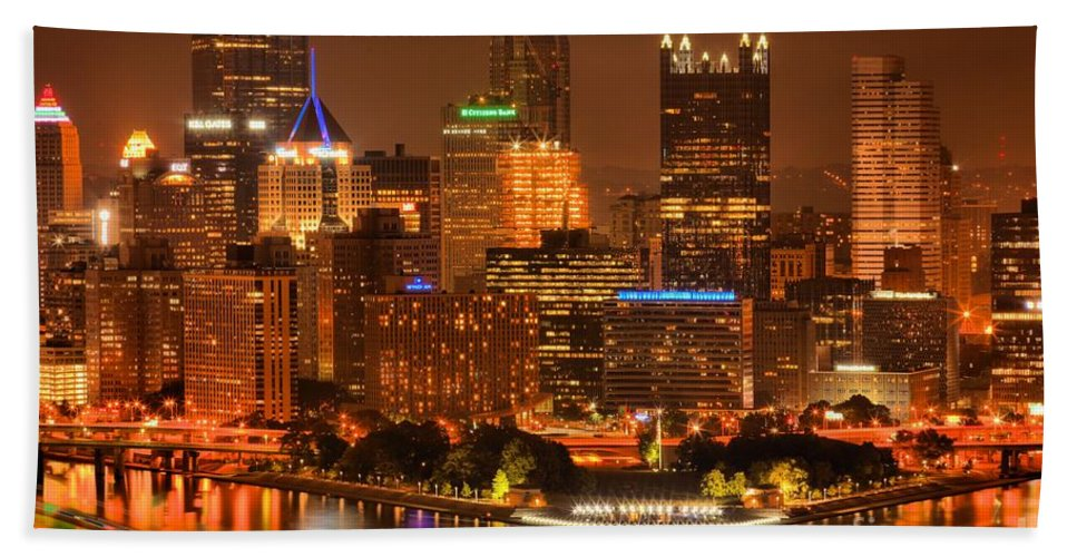 Pittsburgh Pennsylvania Bath Sheet featuring the photograph Cityscape Of Color by Adam Jewell