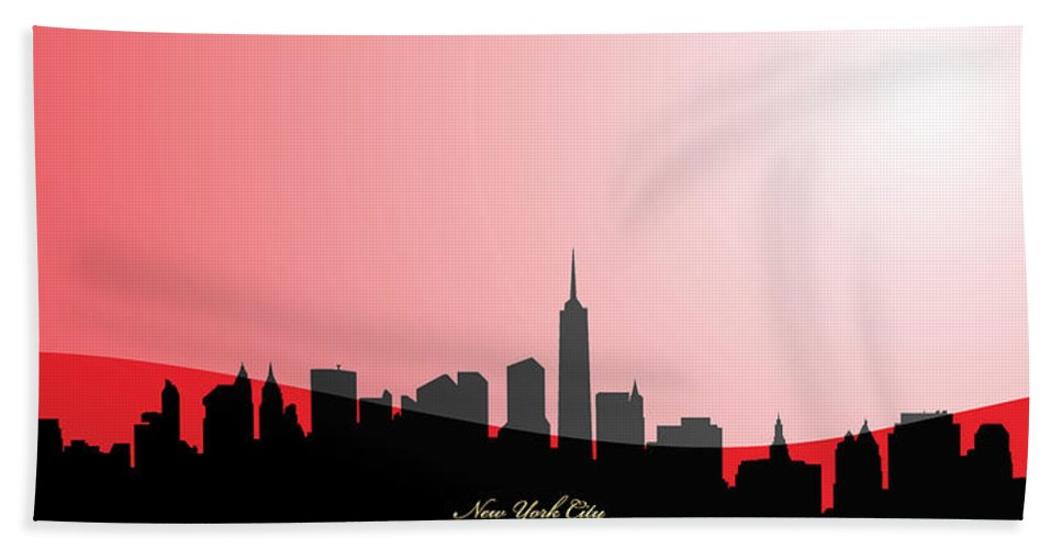 'cityscapes' Collection By Serge Averbukh Hand Towel featuring the digital art Cityscapes- New York City Skyline In Black On Red by Serge Averbukh