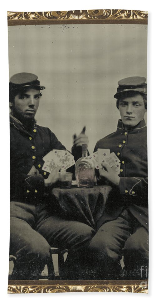 1863 Bath Sheet featuring the photograph Civil War Soldiers C1863 by Granger