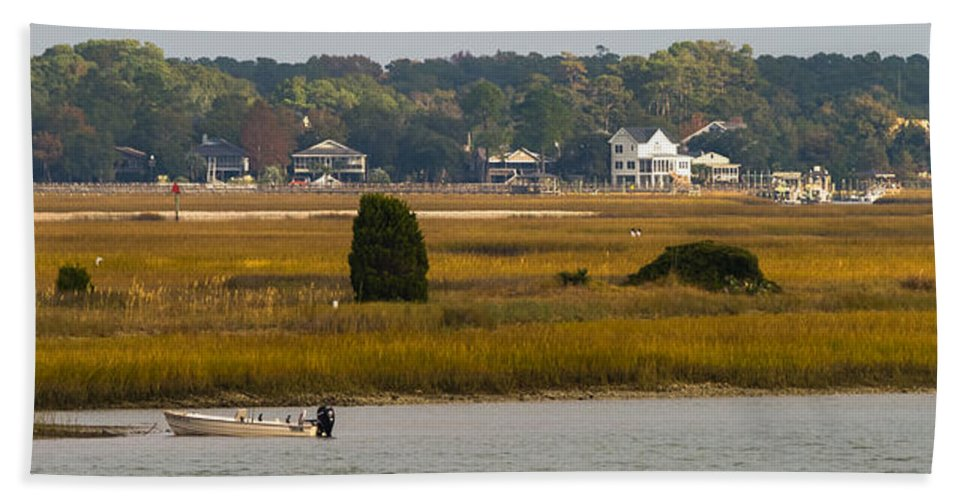 Murrells Inlet Bath Sheet featuring the photograph Clam Country by Ed Gleichman