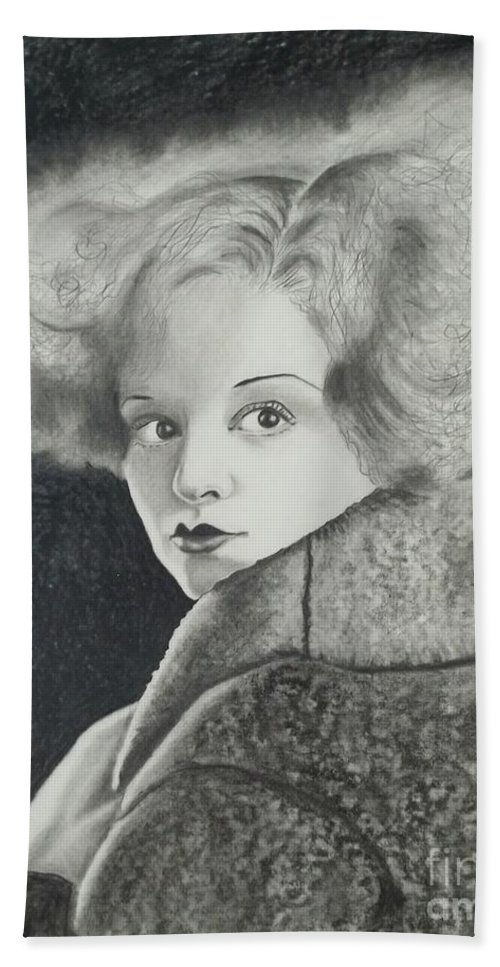 Clara Bow Hand Towel featuring the drawing Clara Bow by Lise PICHE