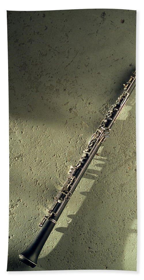 Bath Sheet featuring the photograph Clarinet by Jon Neidert
