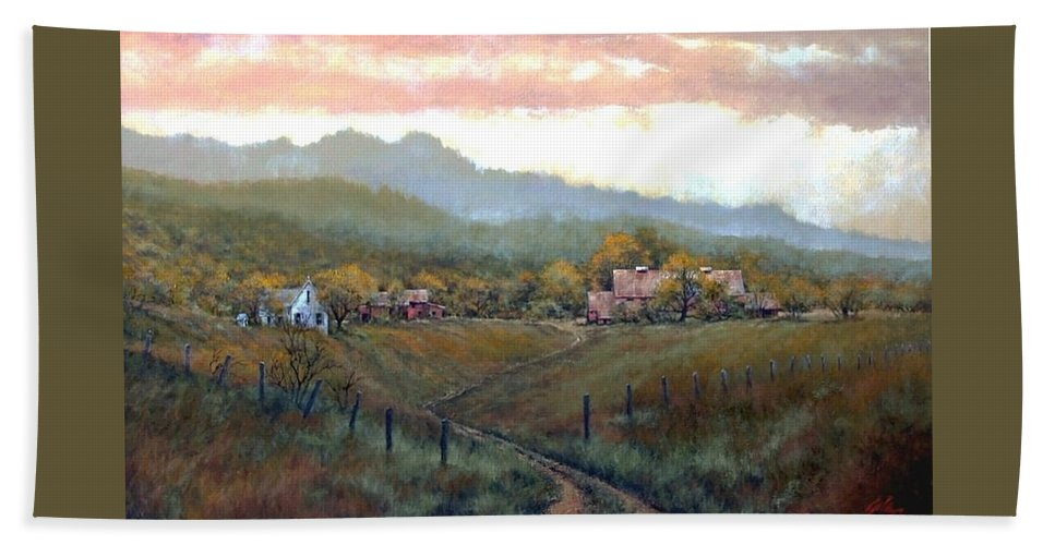 Country Bath Towel featuring the painting Clark County Farm by Jim Gola
