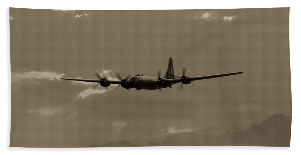 Aircraft Bath Sheet featuring the photograph Classic B-29 Bomber Aircraft In Flight by Amy McDaniel