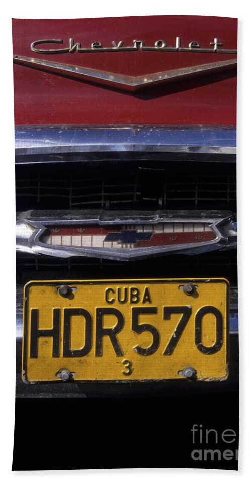 Cuba Bath Towel featuring the photograph Classic Chevy In Cuba by James Brunker