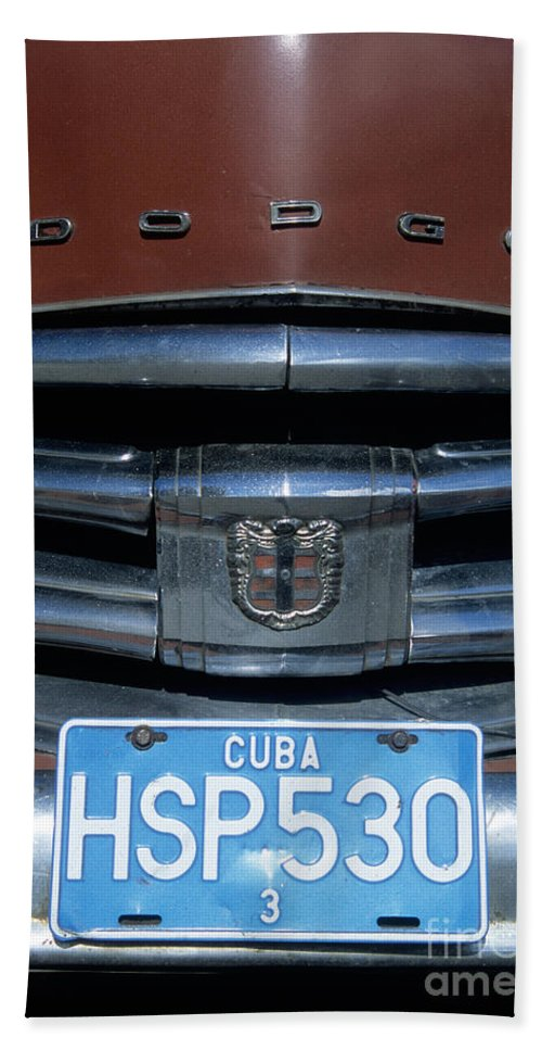 Cuba Hand Towel featuring the photograph Classic Dodge by James Brunker
