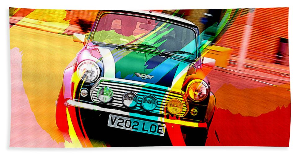 Car Photographs Mixed Media Mixed Media Hand Towel featuring the mixed media Classic Mini Cooper by Marvin Blaine