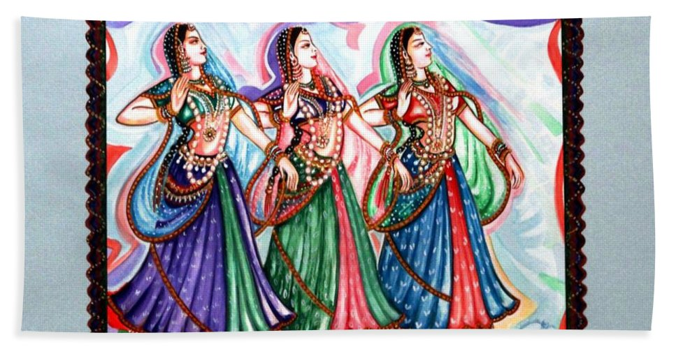 Abstract Hand Towel featuring the painting Classical Dance1 by Harsh Malik