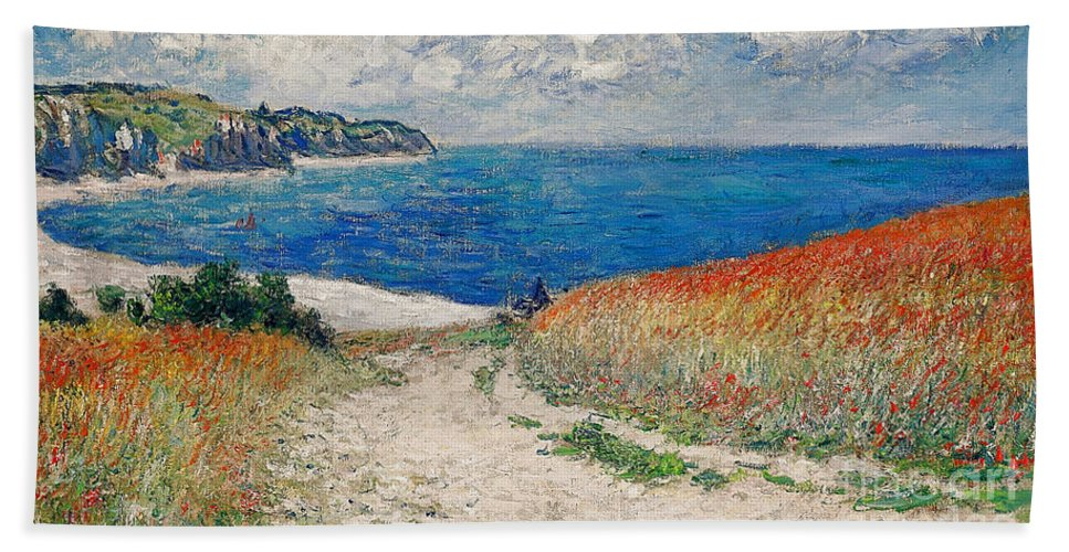 Path In The Wheat At Pourville Hand Towel featuring the painting Claude Monet's Path In The Wheat Fields At Pourville-1882 by Doc Braham