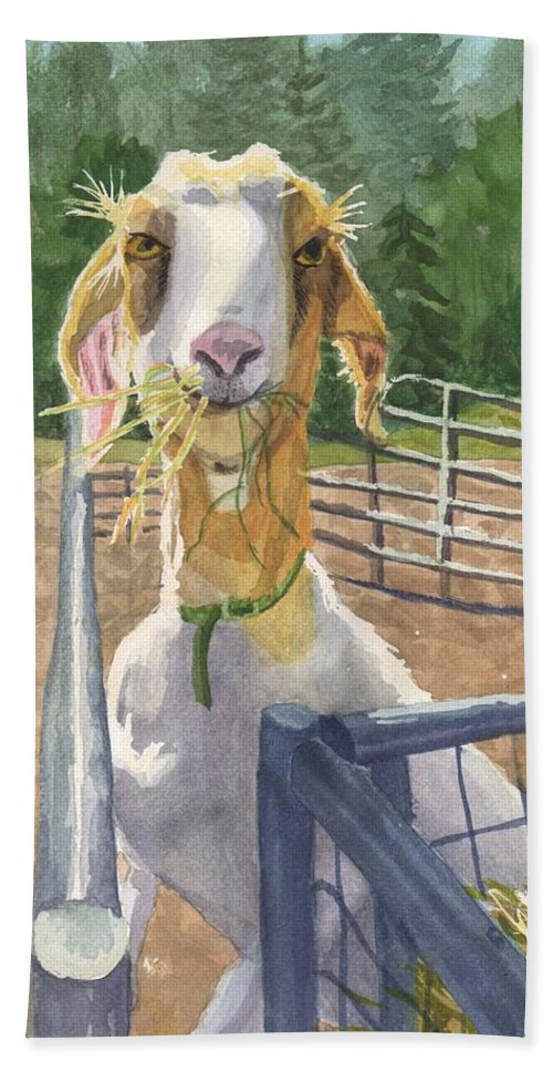Goat Bath Towel featuring the painting Claudette's Snack by Sharon E Allen