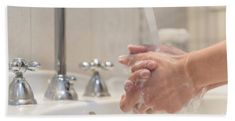Sink Bath Sheet featuring the photograph Cleaning Her Hands by Mats Silvan