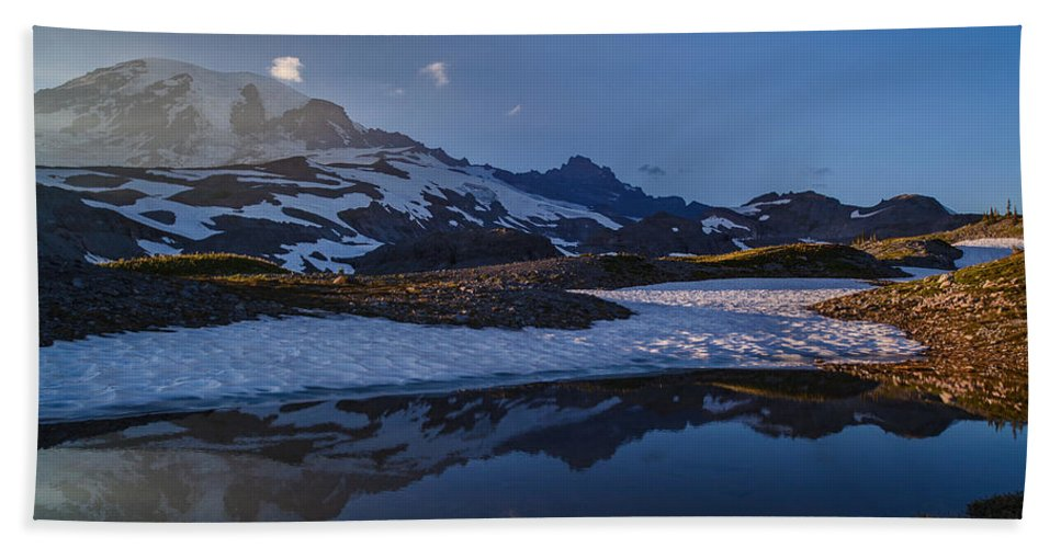 Rainier Hand Towel featuring the photograph Clear Water Rainier Reflection by Mike Reid