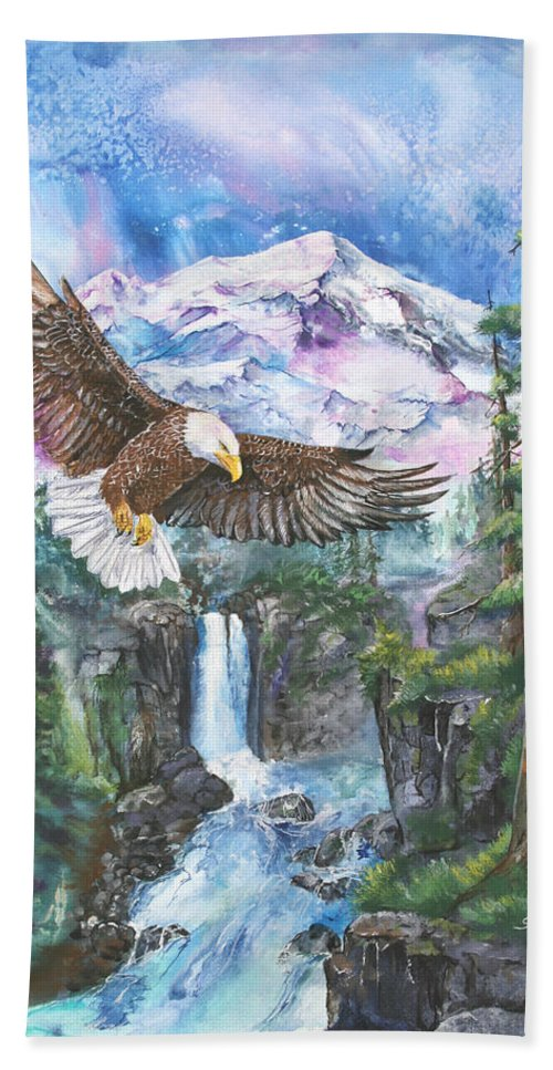 Eagle Bath Sheet featuring the painting Cleared For Landing Mount Baker by Sherry Shipley