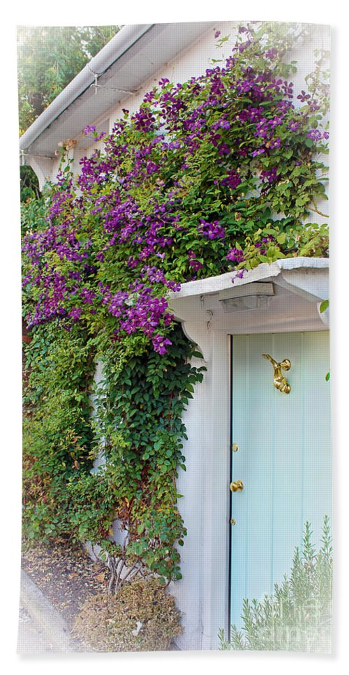 Dolphin Bath Sheet featuring the photograph Clematis Around The Door by Terri Waters