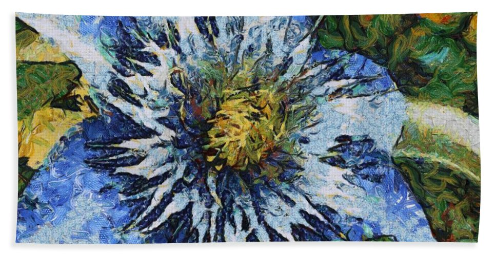 Bloom Hand Towel featuring the painting Clematis by Jeffrey Kolker