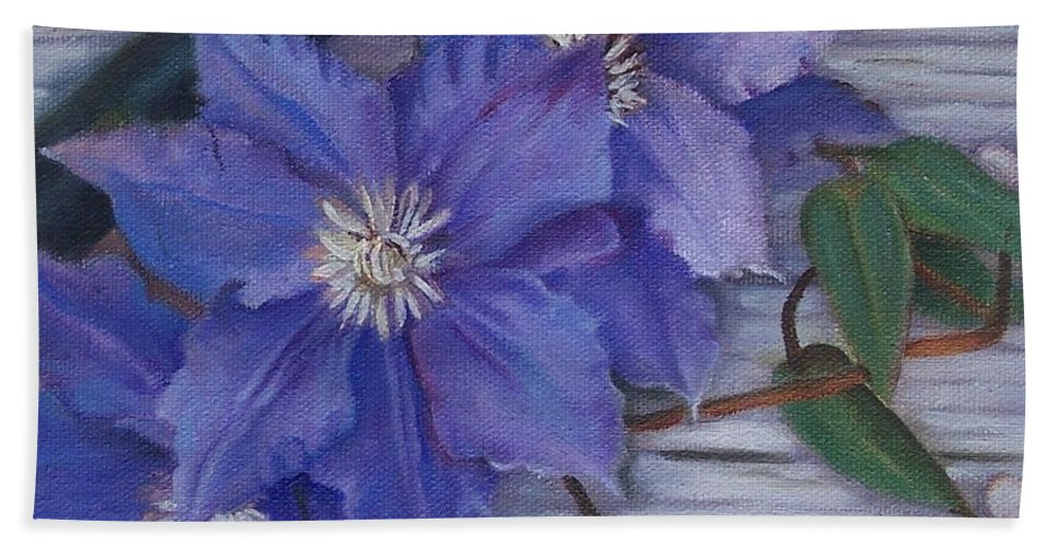 Still Life Bath Sheet featuring the painting Clematis by Marlene Book