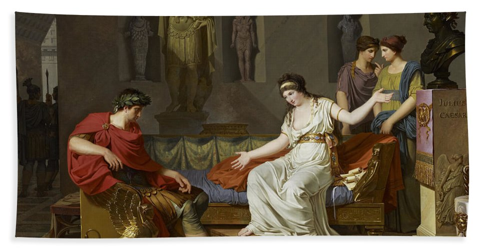 Louis Gauffier Hand Towel featuring the painting Cleopatra And Octavian by Louis Gauffier