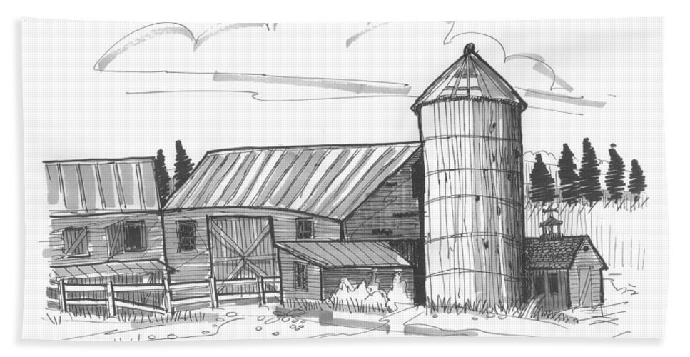 Barn Hand Towel featuring the drawing Clermont Barn 2 by Richard Wambach