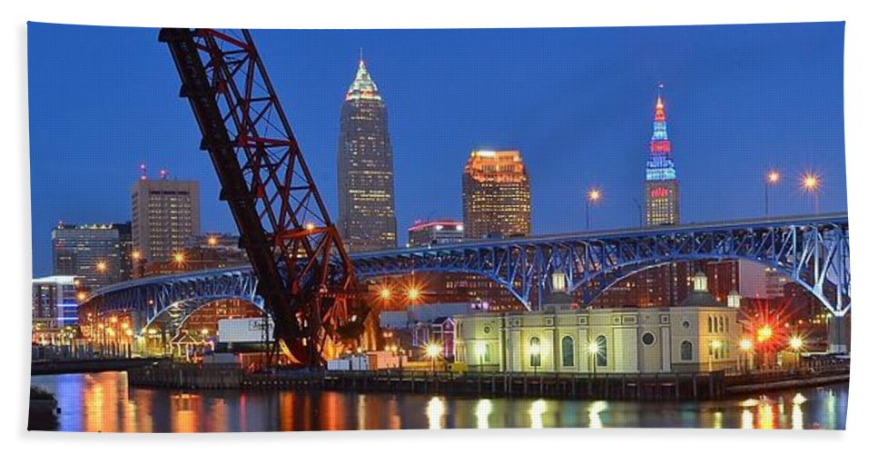 Cleveland Hand Towel featuring the photograph Cleveland Blue Hour Panoramic by Frozen in Time Fine Art Photography