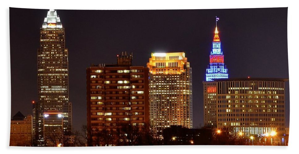 Cleveland Bath Sheet featuring the photograph Cleveland Cityscape by Frozen in Time Fine Art Photography