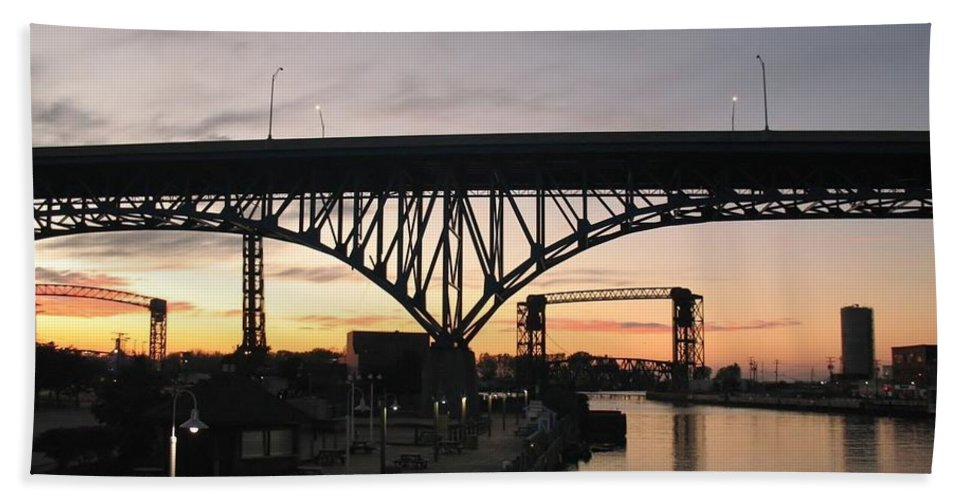 Cleveland Bath Sheet featuring the photograph Cleveland Ohio Flats At Sunset by Wendy Gertz