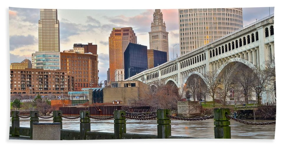 Cleveland Hand Towel featuring the photograph Cleveland Ohio by Frozen in Time Fine Art Photography