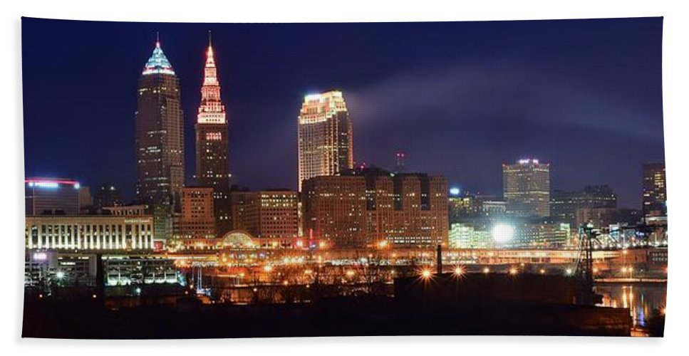 Cleveland Hand Towel featuring the photograph Cleveland Panoramic Night by Frozen in Time Fine Art Photography