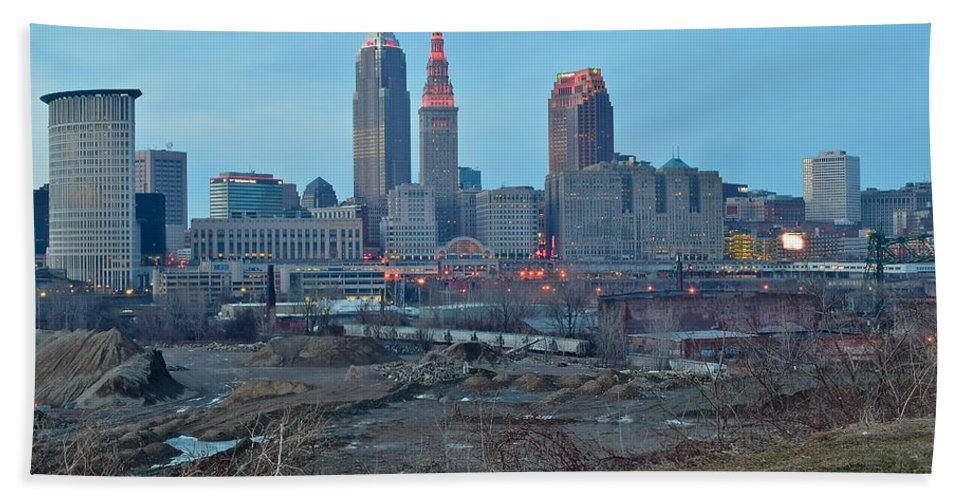 Cleveland Hand Towel featuring the photograph Clevelands Urban Side by Frozen in Time Fine Art Photography