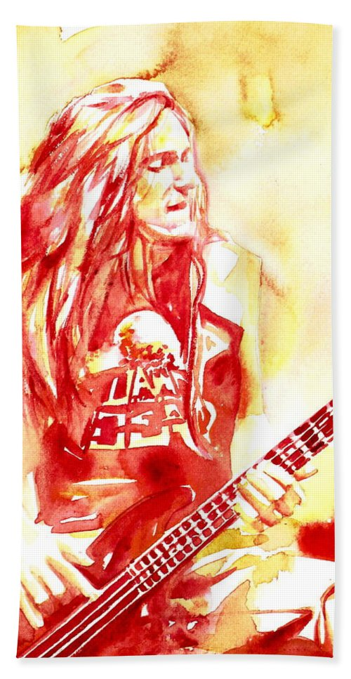 Cliff Hand Towel featuring the painting Cliff Burton Playing Bass Guitar Portrait.1 by Fabrizio Cassetta