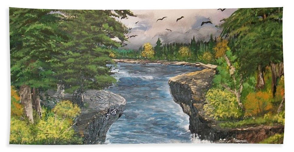 Cliffs Hand Towel featuring the painting Cliff Falls by Sharon Duguay