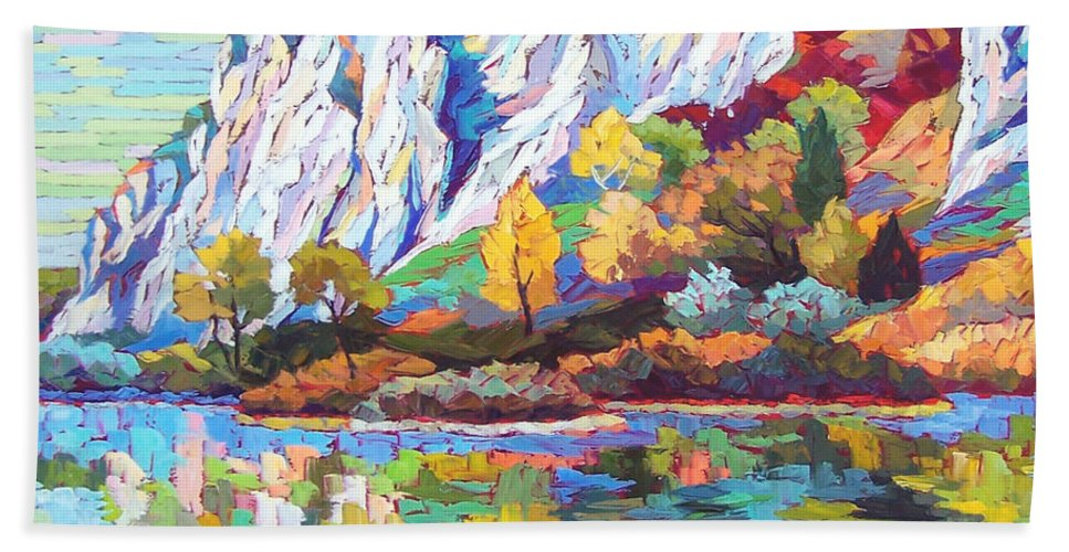 Landscape Hand Towel featuring the painting Cliff Landscape by Elizabeth Elkin