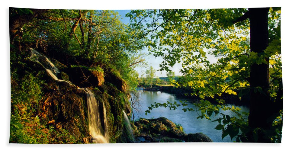 Photography Hand Towel featuring the photograph Cliffs And Trees Along Malanaphy by Panoramic Images