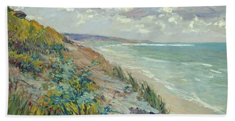 Beach Hand Towel featuring the painting Cliffs By The Sea At Trouville by Gustave Caillebotte