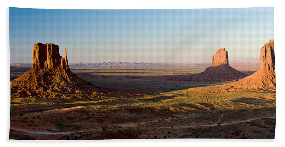 Photography Bath Towel featuring the photograph Cliffs On A Landscape, Monument Valley by Panoramic Images