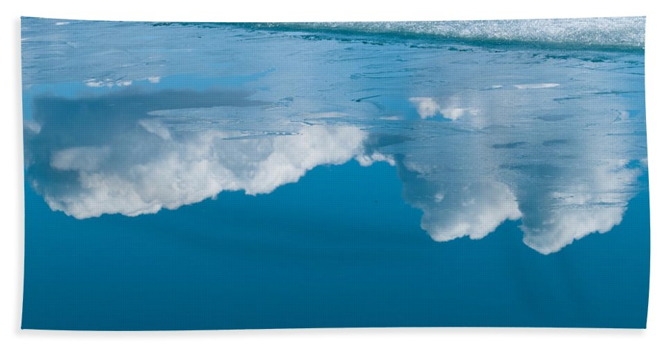 Abstract Hand Towel featuring the photograph Climate Change Blue Arctic Water Reflected Clouds by Stephan Pietzko