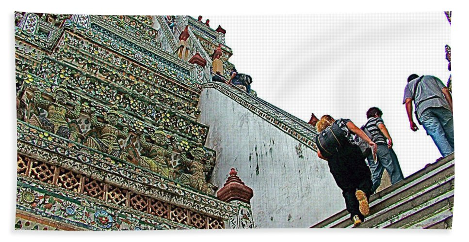Climbing Many Steps At Temple Of The Dawn Hand Towel featuring the photograph Climbing Many Steps At Temple Of The Dawn-wat Arun In Bangkok-th by Ruth Hager