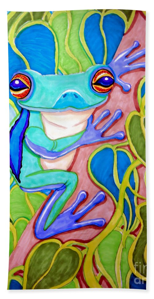 Tree Frog Hand Towel featuring the drawing Climbing Tree Frog by Nick Gustafson