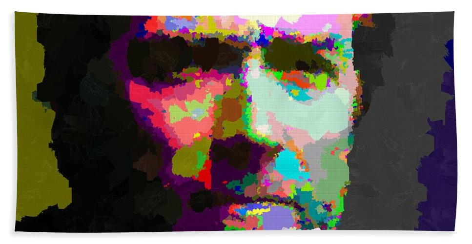Clint Hand Towel featuring the painting Clint Eastwood - Abstract by Samuel Majcen