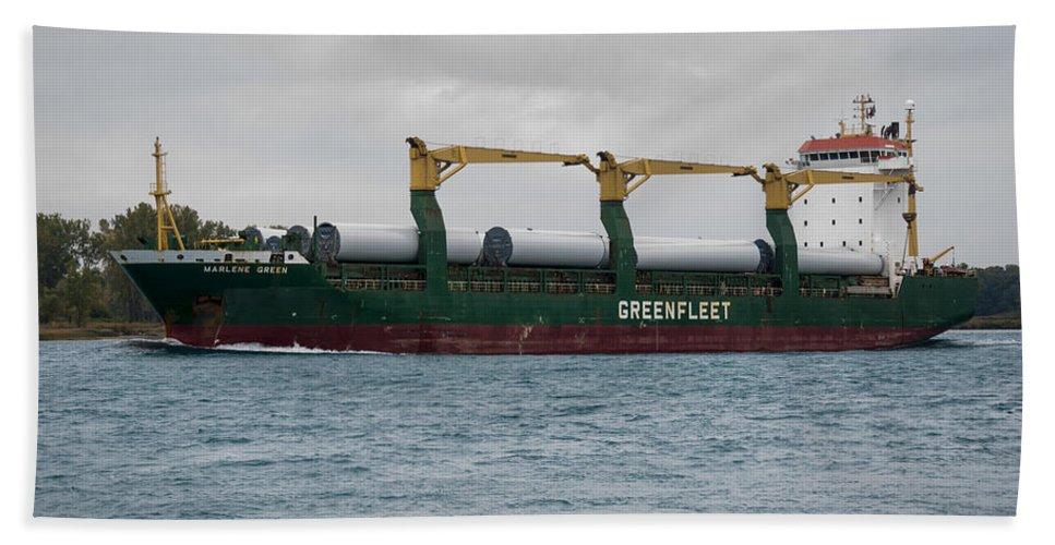 Clipper Bath Sheet featuring the photograph Clipper Marlene Green Ship by Paul Cannon