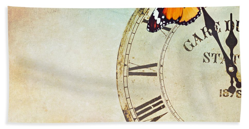 Butterfly Bath Sheet featuring the photograph Clock Five To Twelve by Heike Hultsch