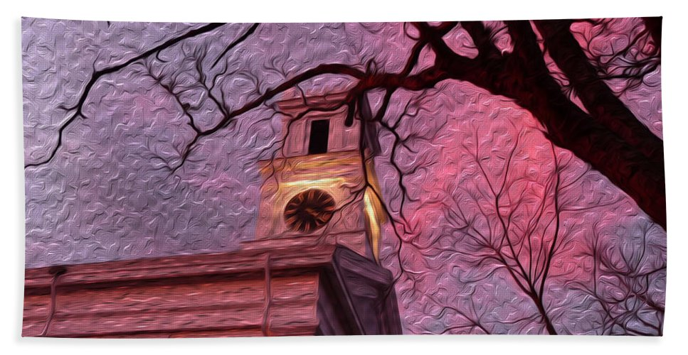 Clock Tower Hand Towel featuring the photograph Clock Tower by Heather MacKenzie