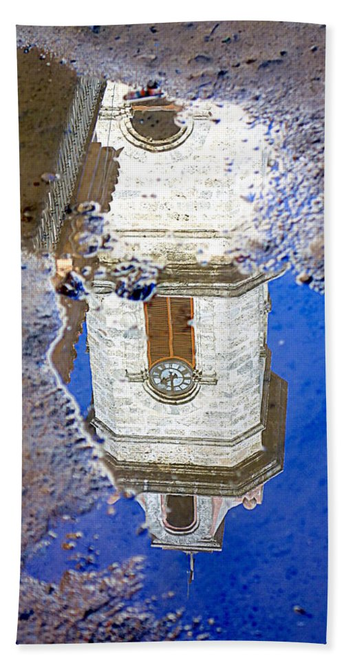 Clock Hand Towel featuring the photograph Clock Tower Reflected by Valentino Visentini