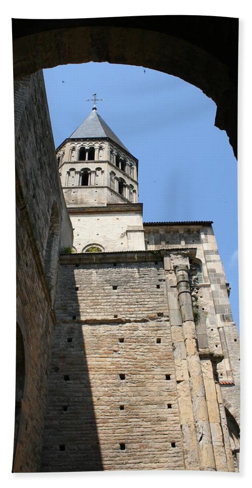 Cloister Bath Sheet featuring the photograph Cloister Cluny Church Steeple by Christiane Schulze Art And Photography