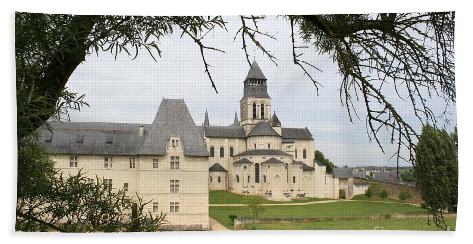 Cloister Hand Towel featuring the photograph Cloister Fontevraud View - France by Christiane Schulze Art And Photography