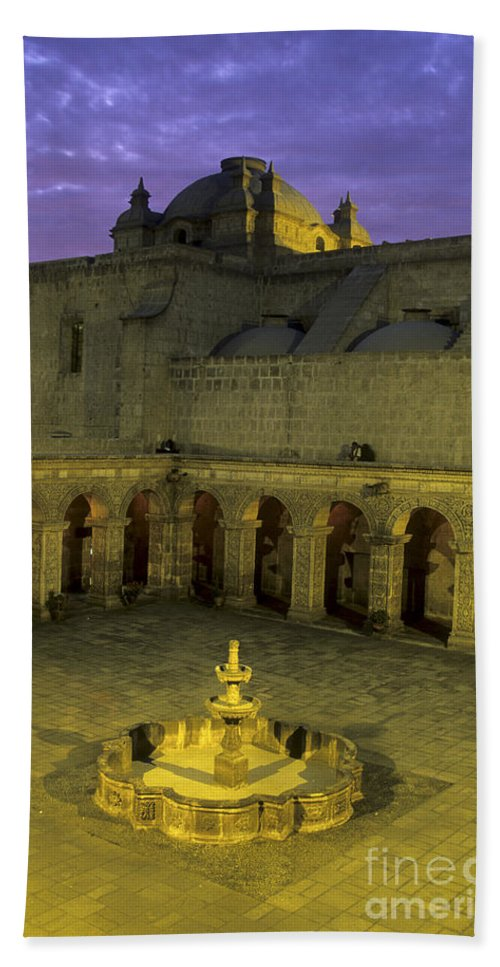 Peru Bath Towel featuring the photograph Cloisters At Sunset Arequipa Peru by James Brunker
