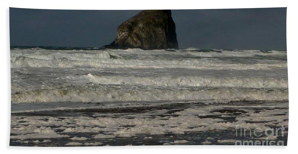 Waves Bath Sheet featuring the photograph Close Haystack Rock by Susan Garren