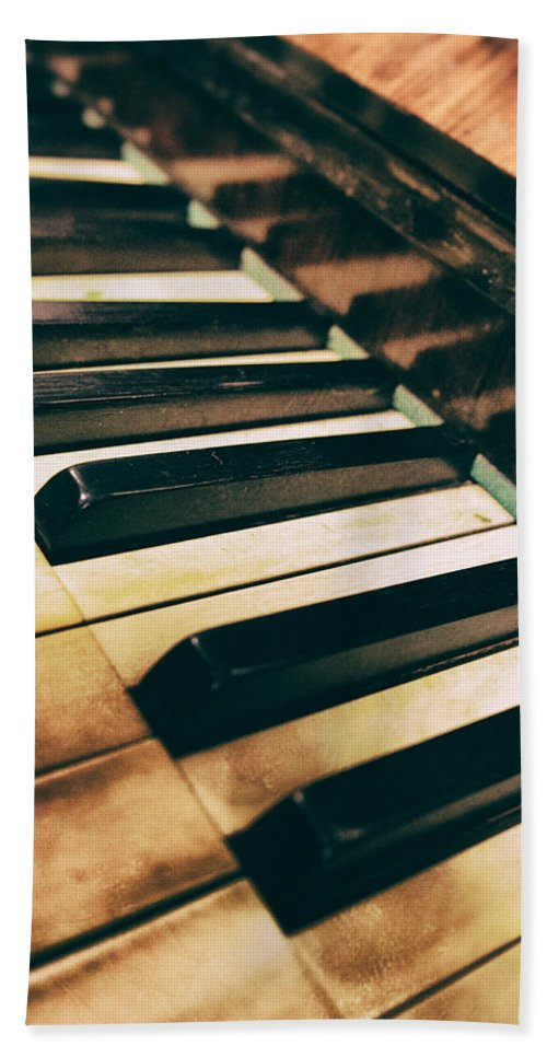 Piano Hand Towel featuring the photograph Close Up Of An Old Piano by Jaroslaw Blaminsky