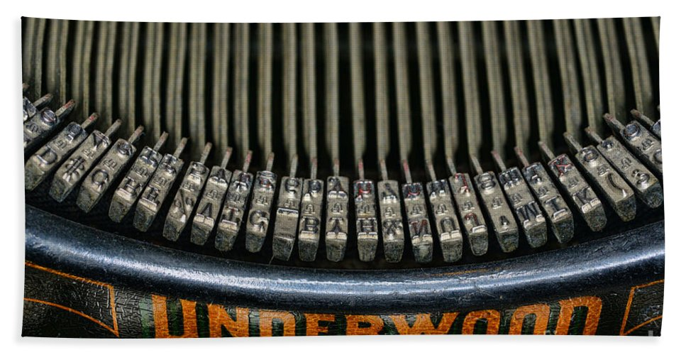 Paul Ward Hand Towel featuring the photograph Close Up Of Vintage Typewriter Keys. by Paul Ward