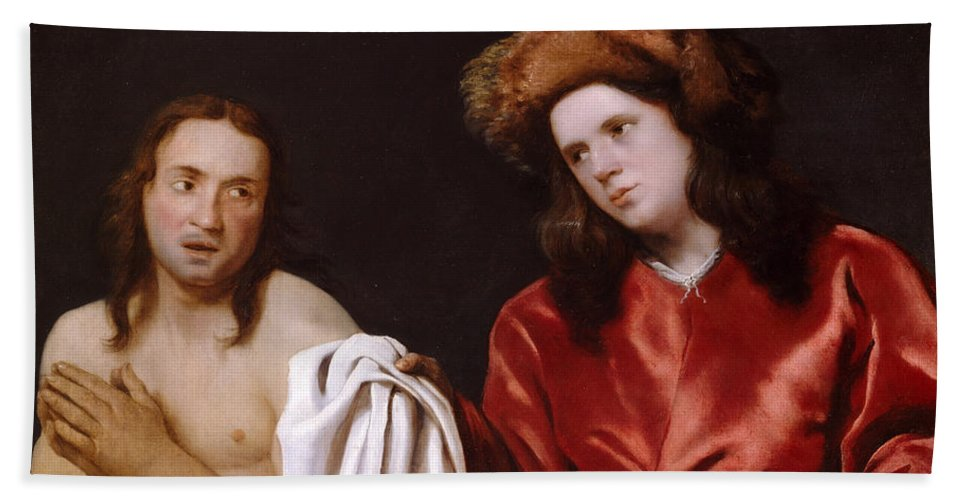Michiel Sweerts Bath Sheet featuring the painting Clothing The Naked by Michiel Sweerts