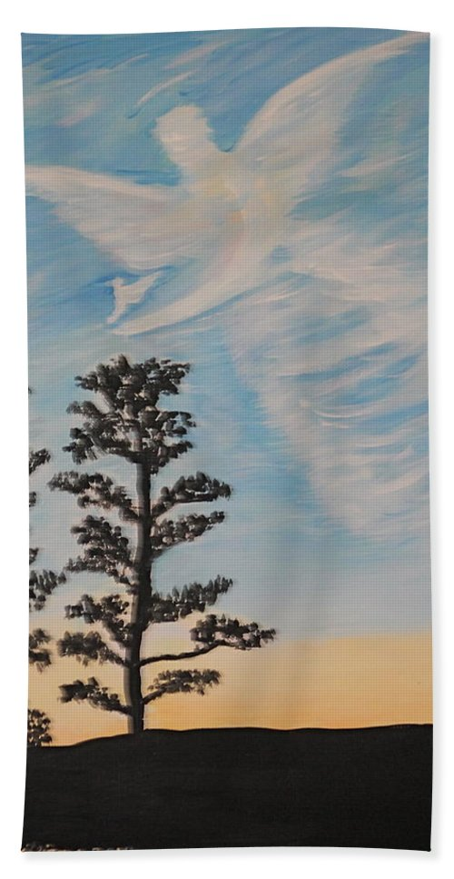 Painting Bath Sheet featuring the painting Cloud Angel In Acryics by Wayne Williams